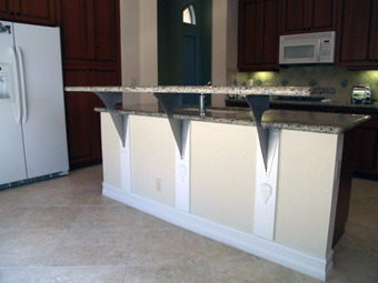 Have you heard of floating countertop support brackets for How to support granite countertop overhang